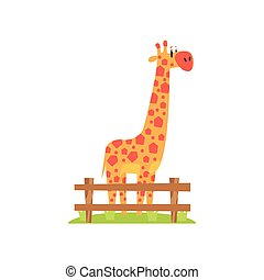 Tall Orange Giraffe With Hexahedron Shaped Spots Standing On...