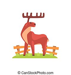 Brown Deer WIth Wide Antlers Standing On Green Grass Patch...