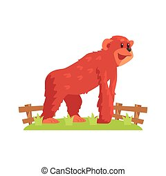 Chimpansee Ape On All Fours Standing On Green Grass Patch In...