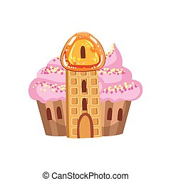 Small Cupcake Castle With Cream Roof And Waffle Tower Fantasy Candy Land Sweet Landscape Element