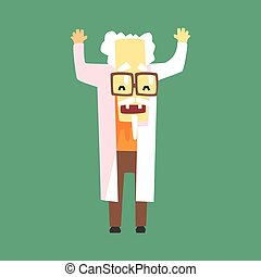Funny Scientist In Lab Coat With A Goatee