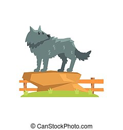 Grey Wolf Standing On Large Rock On Green Grass Patch In...
