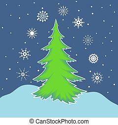 Fir tree and snow. Nine different snowflakes.