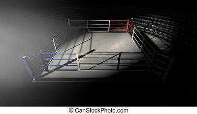 Boxing Ring Corner Lit - A 3D render of a modern boxing ring...