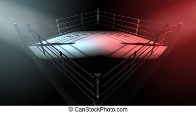 Boxing Ring Opposing Corners - A 3D render of a modern...