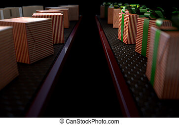 Christmas Production Line - A 3D render of a production line...