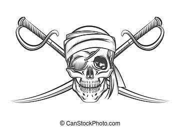Pirate Skull and Two Crossing Swords - Pirate symbol of a...