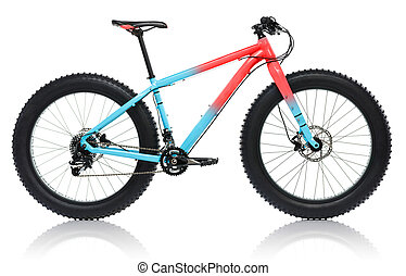 New blue with red bicycle with thick tires for snow ride isolated on a white