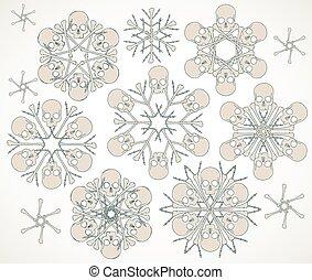 Skulls and bones jolly snowlakes - Set of vector snowflakes...