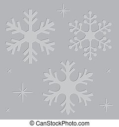 Letterpress Snowflakes - Set of letterpress embossed...