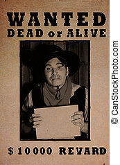 Western wanted poster background in grunge style with photo
