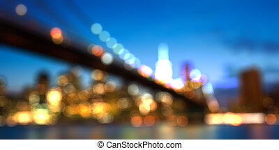 Blurred cityscape of New york city skyline by night