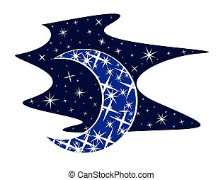 Moon with stars. - moon logo with the starry sky.