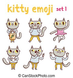 Kitty emoji set 1. Vector mascot illustrations