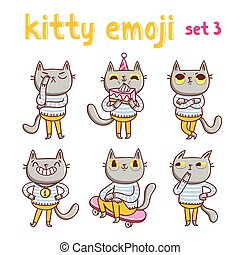 Kitty emoji set . Vector mascot illustrations