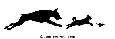 Dog, cat and mouse. - Running dog, cat, and mouse.
