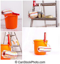 Wall painting equipment - Collage of painting wall...