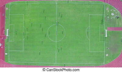 aerial view of the goal scored at the right gate - aerial...