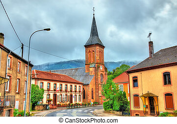 La Petite-Raon, town hall and the church. Vosges Department,...