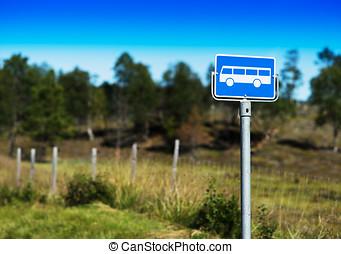 Norway school bus stop sign background