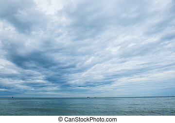 Beautiful blue sky with cloudy and sea