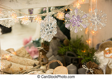 Festive background for a Christmas card with snowflakes