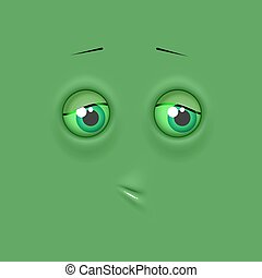 Cute lonely emoticonon flat square background - Green cute...