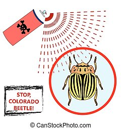vector illustration. Spray against insects insecticides. anti pesticides, colorado beetle