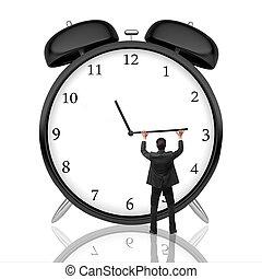 Time management concept - Man pushing alarm clock arrow on...