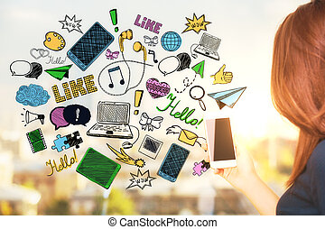 Social media concept - Young woman using smartphone with...