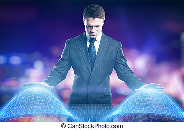 Technology concept - Young businessman controlling abstract...