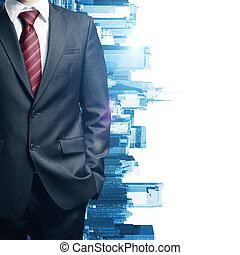 Man's body on city background - Close up of business man's...