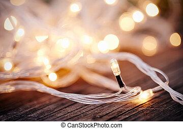Christmas garland lights from LED bulbs