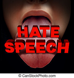 Hate Speech - Hate speech concept as a foul mouthed person...