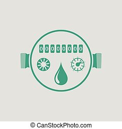 Water meter icon. Gray background with green. Vector...