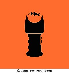 Stun gun icon. Orange background with black. Vector...