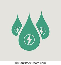 Hydro energy drops icon. Gray background with green. Vector...