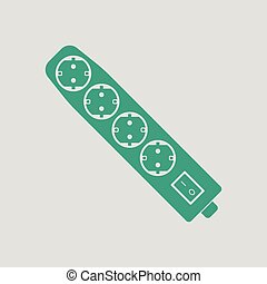 Electric extension icon. Gray background with green. Vector...