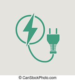 Electric plug icon. Gray background with green. Vector...