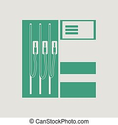 Fuel station icon. Gray background with green. Vector...