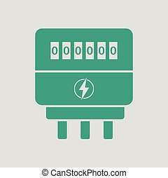 Electric meter icon. Gray background with green. Vector...