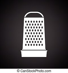 Kitchen grater icon. Black background with white. Vector...