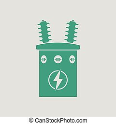 Electric transformer icon. Gray background with green....