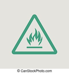 Flammable icon. Gray background with green. Vector...
