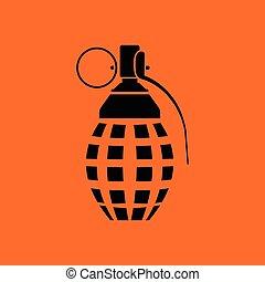 Defensive grenade icon. Orange background with black. Vector...