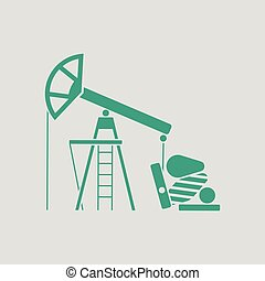 Oil pump icon. Gray background with green. Vector...