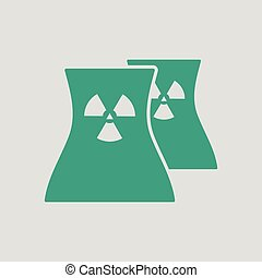 Nuclear station icon. Gray background with green. Vector...