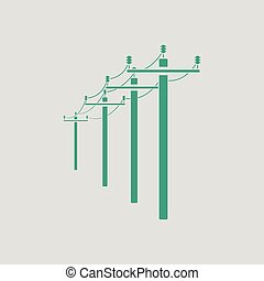 High voltage line icon. Gray background with green. Vector...