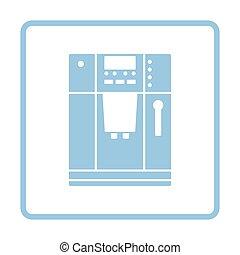 Kitchen coffee machine icon. Blue frame design. Vector...