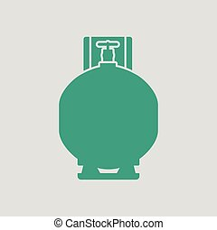 Gas cylinder icon. Gray background with green. Vector...